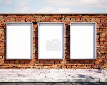Mockup billboards on brick wall