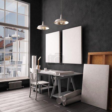 Desk in hipster style loft