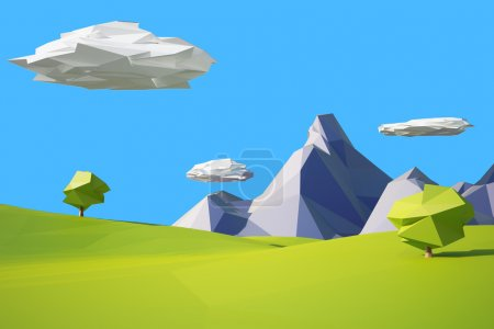 Photo for Low poly mountain landscape illustration - Royalty Free Image