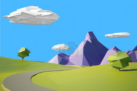 Photo for Low poly mountain landscape with road - Royalty Free Image
