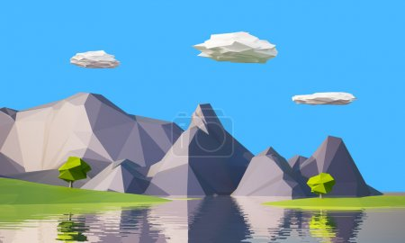 Photo for Low poly mountain landscape with water - Royalty Free Image