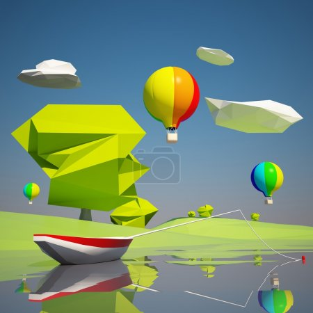 Photo for Low poly landscape with a river boat and balloons - Royalty Free Image