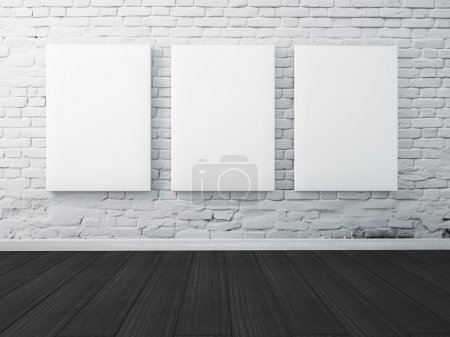Photo for Three poster hanging on the wall in the interior. mock up - Royalty Free Image