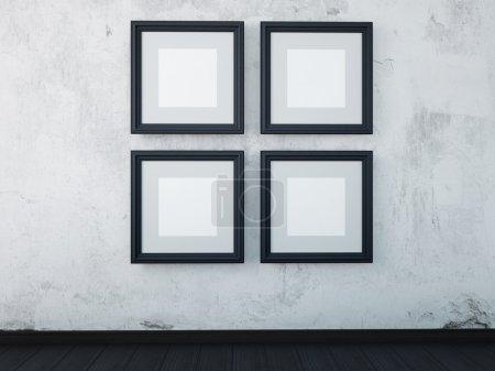 Photo pour Illustration des maquettes des montures noires sur le mur à l'intérieur. - image libre de droit