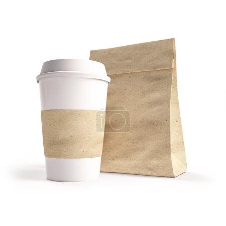 Photo pour Sac en papier maquillé et tasse de café. 3d - image libre de droit