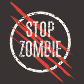 Vector illustration Sign stop zombie Laceration logo