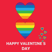 Vector illustration Gay greeting card for Valentine's Day Rainbow hearts on a red background