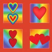 Vector illustration Set gay Valentine Hearts on a rainbow background