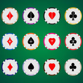 Vector three sets of casino chips with card suits Top view