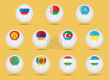 Vector icons set. Creative ball shaped icons. Adve...