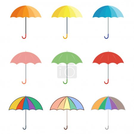 Set of colored vector icons umbrellas