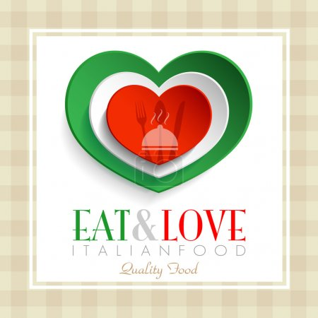 Photo for Italian restaurant  heart logo with text eat and love italian good - Royalty Free Image