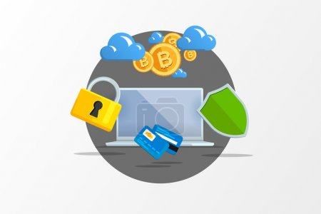 Illustration for Isolated flat color vector illustration on light background. Visualization concept electronic commerce, mining Bitcoin. Cloud technology. Virtual money. Elements for infographics. Earnings in network - Royalty Free Image