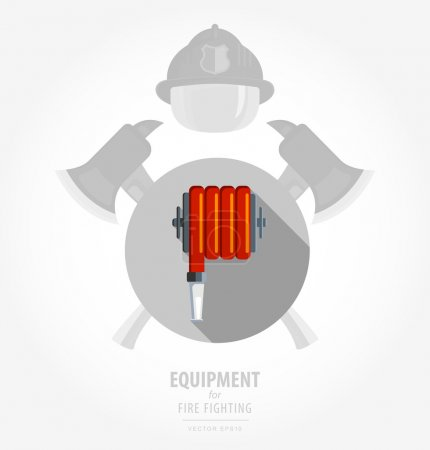 Shield and ax. Red fire hose