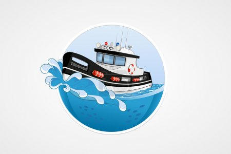 Illustration for Moving speed police boat. Deep sea with wave. Round vector computer icons for applications or games. Logo template. Handdrawn Illustration - Royalty Free Image