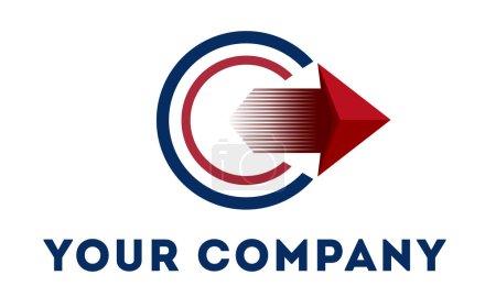 Photo pour Modèle de logo vectoriel logo rond avec flèche, logo de service de livraison, logo de style mobile, logo d'entreprise de transport, logo de service de transport, logo - image libre de droit