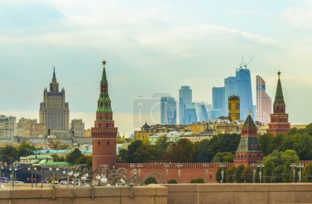 Photo for Panorama of the City of Moscow, the Kremlin, the building of the Ministry of Foreign Affairs of the Russian Federation, the business center Moscow-City, Moscow - Royalty Free Image