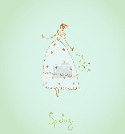 Illustration pour Modèle avec l'image de la fille. Coffret d'illustration Four Seasons. Printemps . - image libre de droit