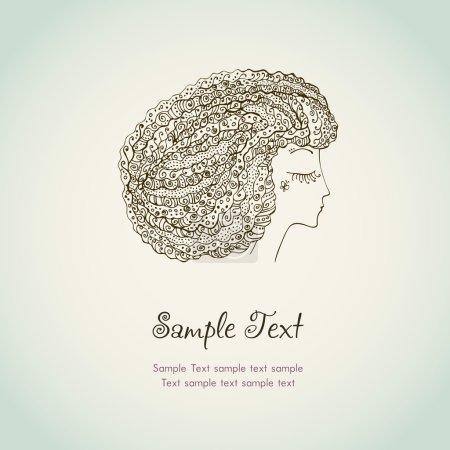 Illustration pour Illustré fond de texte pour design.Decorative image ornementale, rêvant femme à la mode avec les cheveux bouclés - image libre de droit