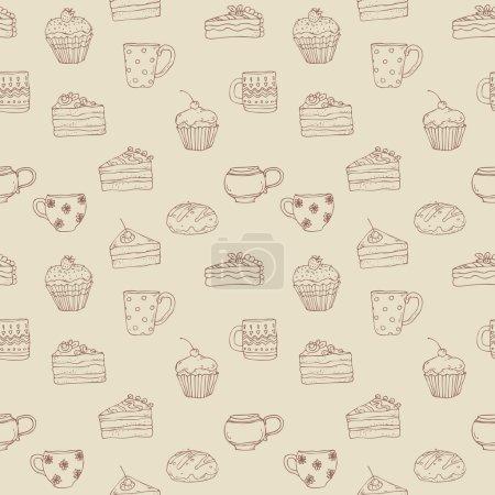 Illustration pour Modèle dessiné à la main sans couture avec des bonbons et des tasses à thé - image libre de droit