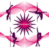 Pole dancers silhouettes The vector illustration of a set of pole dancers silhouettes