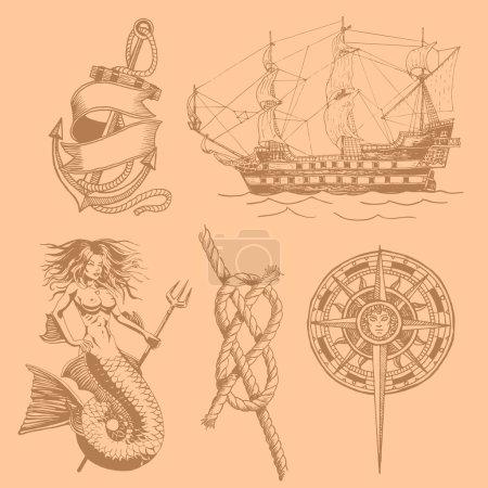 Illustration pour Ancre sirène rose de noeud de vent dessin vintage. Illustration vectorielle - image libre de droit