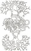Two trees entwined roots Hand-drawn vector illustration