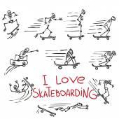 Skeletons riding on skateboards Hand drawing doodles