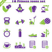 Fitness icons set vector set of 16 fitness signs