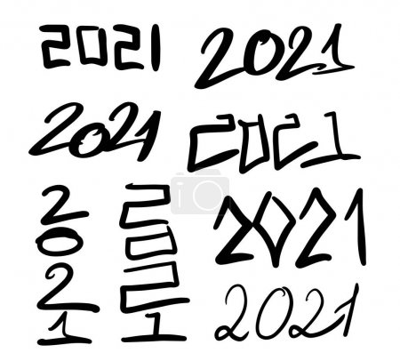 Illustration pour 2021 nouvel an calligraphie. Illustration vectorielle lettrage manuel - image libre de droit