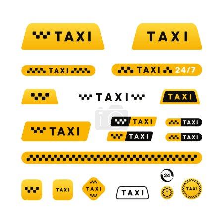 Illustration pour Taxi ensemble élégant de logos icônes et autocollants - image libre de droit