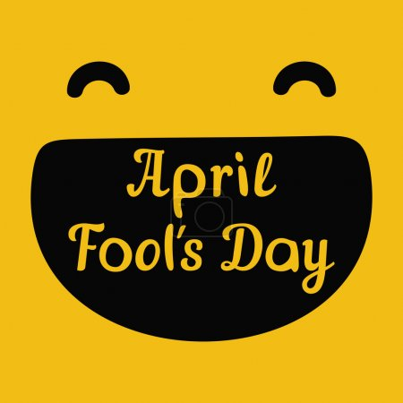 Illustration for April Fools Day design with smiley face and text - Royalty Free Image