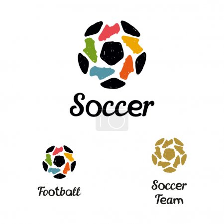 Hand drawn logo soccer ball and football boots constituents a star