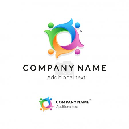 Bright Colorful Twisted Logo with United People Working Together