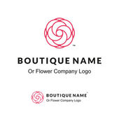 Beautiful Contour Logo with Flower for Boutique or Beauty Salon or Flowers Company