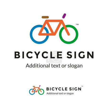 Illustration for Colorful Stylish Contour Bicycle Logo Sign Icon for Bike Shop or Thematic Company - Royalty Free Image