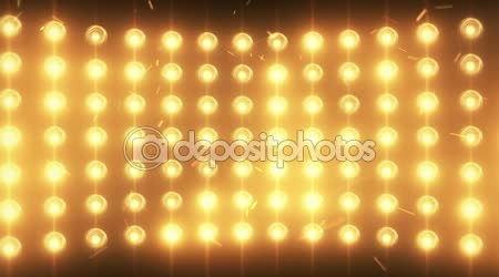 Bright flood lights background with particles and glow. Gold tint. Seamless loop.