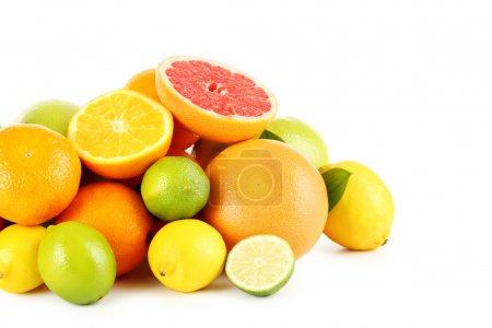 Photo for Fresh citrus fruits on a white background - Royalty Free Image