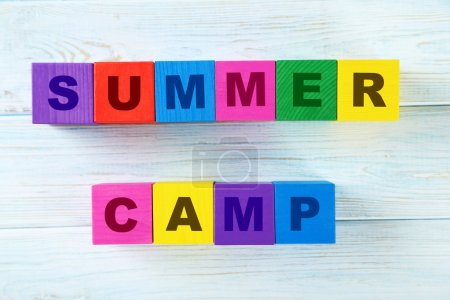 cubes with text summer camp