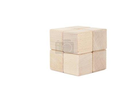 Photo pour Cubes de jouets en bois isolés sur un blanc - image libre de droit