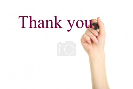 Female hand writing Thank you text