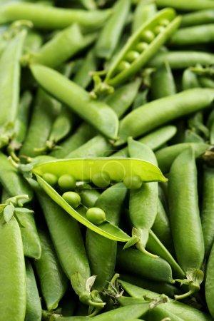 Fresh green peas background
