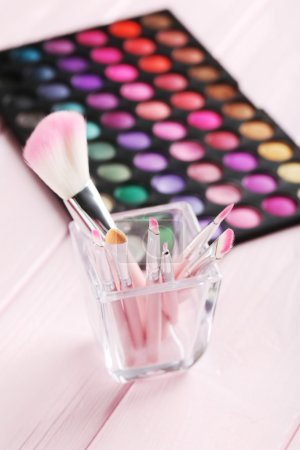 Makeup brushes set with palette
