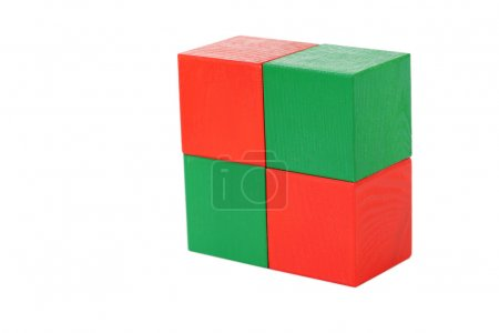 Colorful wooden toy cubes isolated