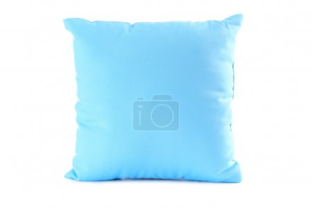 Blue pillow  on a white