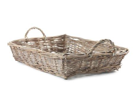 Wicker basket on a white