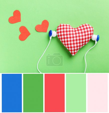 Modern headphones and hearts