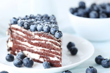 piece of cake with blueberries