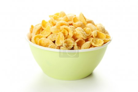 Bowl of cornflakes isolated