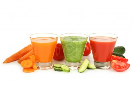 Photo for Fresh tomato, carrot and cucumber juice isolated on white - Royalty Free Image
